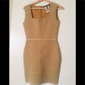 BCBG Max Azeria gold bodycon dress